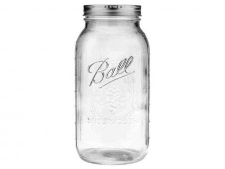 2er Set BALL Mason Jar Wide Mouth Deko-/Einmachglas 1,9 L - 64 OZ