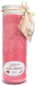 Candle Factory Big Jumbo Duftkerze 100% Stearin Erdbeere und Rhabarber